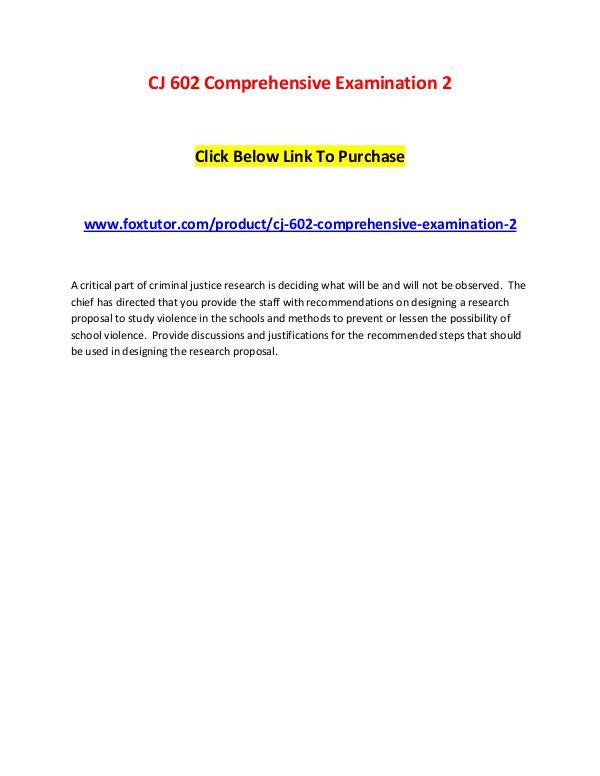 CJ 602 Comprehensive Examination 2 CJ 602 Comprehensive Examination 2