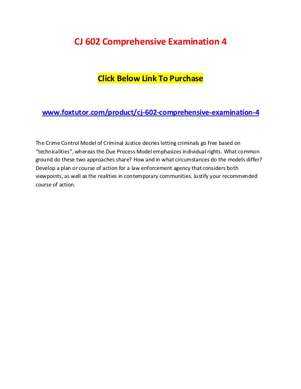 CJ 602 Comprehensive Examination 4 CJ 602 Comprehensive Examination 4