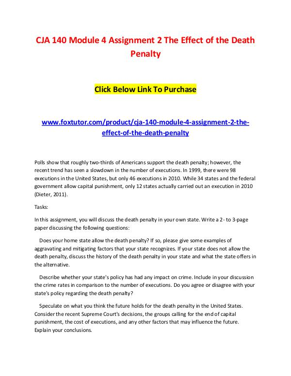 CJA 140 Module 4 Assignment 2 The Effect of the Death Penalty CJA 140 Module 4 Assignment 2 The Effect of the De