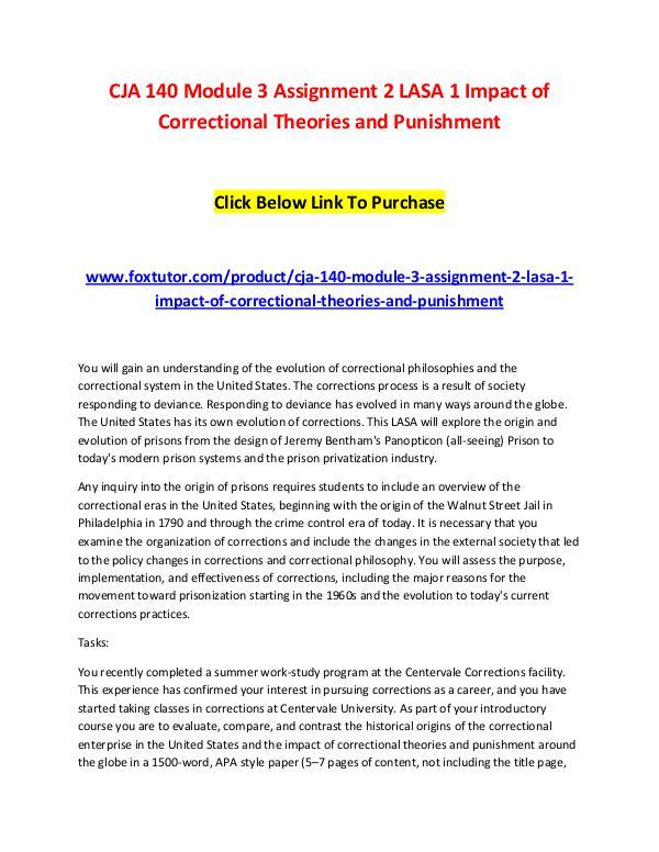 CJA 140 Module 3 Assignment 2 LASA 1 Impact of Correctional Theories CJA 140 Module 3 Assignment 2 LASA 1 Impact of Cor