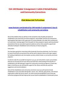 CJA 140 Module 5 Assignment 1 LASA 2 Rehabilitation and Community Cor