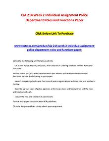 CJA 214 Week 2 Individual Assignment Police Department Roles and Func