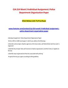 CJA 214 Week 3 Individual Assignment Police Department Organization P