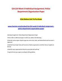 CJA 214 Week 3 Individual Assignment Police Department Organization P