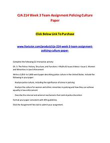 CJA 214 Week 3 Team Assignment Policing Culture Paper