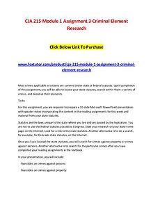 CJA 215 Module 1 Assignment 3 Criminal Element Research