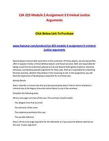 CJA 225 Module 2 Assignment 2 Criminal Justice Arguments