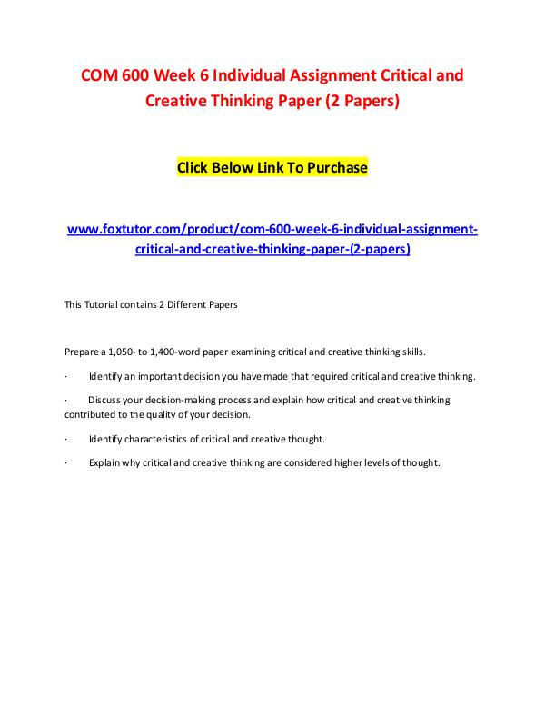 Chapter 7: Critical Thinking and Evaluating Information