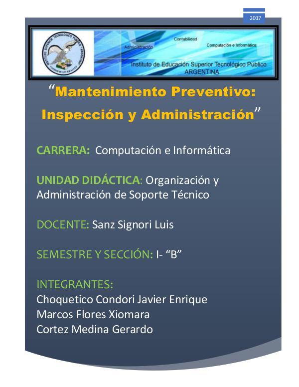 Administración e inspección de un MP MP y Administración informatico