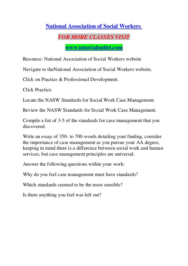NATIONAL ASSOCIATION OF SOCIAL WORKERS / TUTORIALOUTLET DOT COM NATIONAL ASSOCIATION OF SOCIAL WORKERS / TUTORIALO