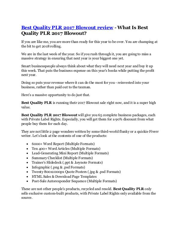 Marketing Best Quality PLR 2017 Blowout review