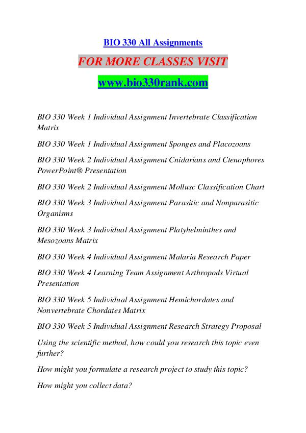 BIO 330 RANK Extraordinary Success /bio330rank.com BIO 330 RANK Extraordinary Success /bio330rank.com
