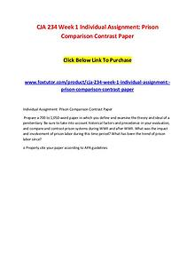 CJA 234 Week 1 Individual Assignment Prison Comparison Contrast Paper