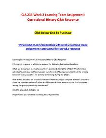 CJA 234 Week 2 Learning Team Assignment Correctional History Q&A Resp