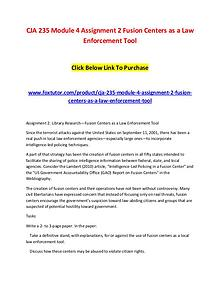 CJA 235 Module 4 Assignment 2 Fusion Centers as a Law Enforcement Too