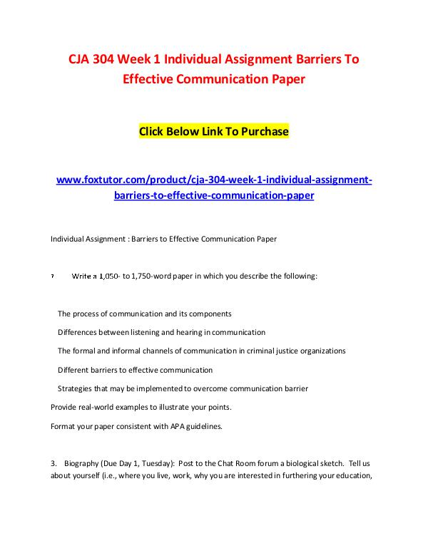 CJA 304 Week 1 Individual Assignment Barriers To Effective Communicat CJA 304 Week 1 Individual Assignment Barriers To E