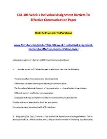 CJA 304 Week 1 Individual Assignment Barriers To Effective Communicat
