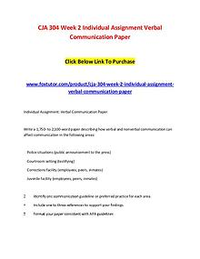 CJA 304 Week 2 Individual Assignment Verbal Communication Paper Click