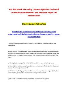CJA 304 Week 5 Learning Team Assignment Technical Communication Metho