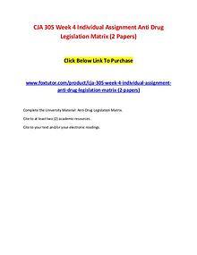 CJA 305 Week 4 Individual Assignment Anti Drug Legislation Matrix (2