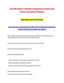 CJA 305 Week 5 Individual Assignment Victims and Crime Evaluation (2