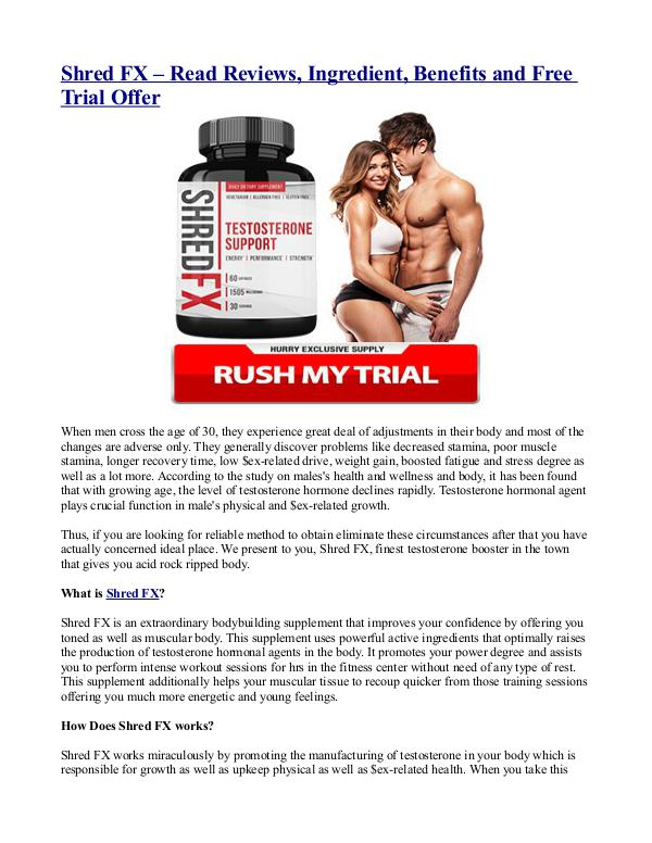 Shred FX – Read Reviews, Ingredient, Benefits and Free Trial Offer Shred FX – Read Reviews, Ingredient, Benefits and