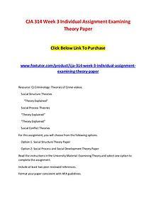 CJA 314 Week 3 Individual Assignment Examining Theory Paper
