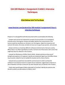 CJA 320 Module 3 Assignment 2 LASA 1 Interview Techniques