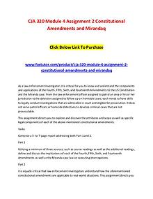 CJA 320 Module 4 Assignment 2 Constitutional Amendments and Mirandaq