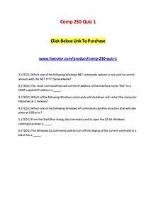 Comp 230 Quiz 1