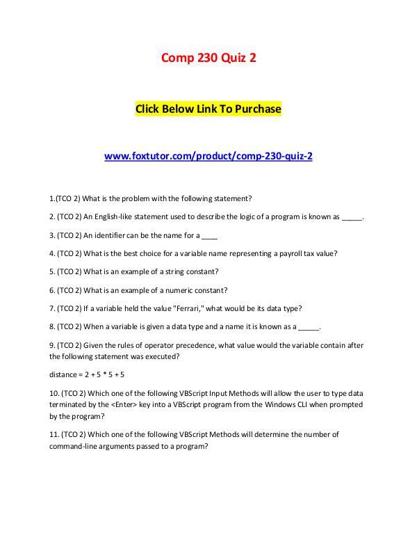 Comp 230 Quiz 2 Comp 230 Quiz 2