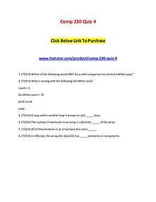 Comp 230 Quiz 4