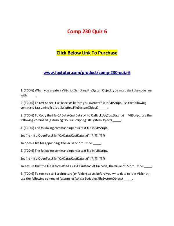 Comp 230 Quiz 6 Comp 230 Quiz 6