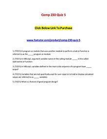 Comp 230 Quiz 5