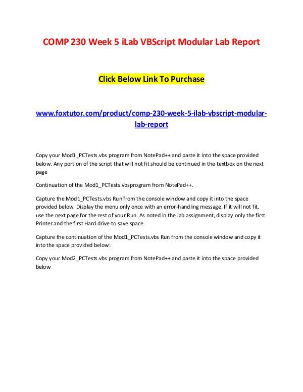 COMP 230 Week 5 iLab VBScript Modular Lab Report COMP 230 Week 5 iLab VBScript Modular Lab Report