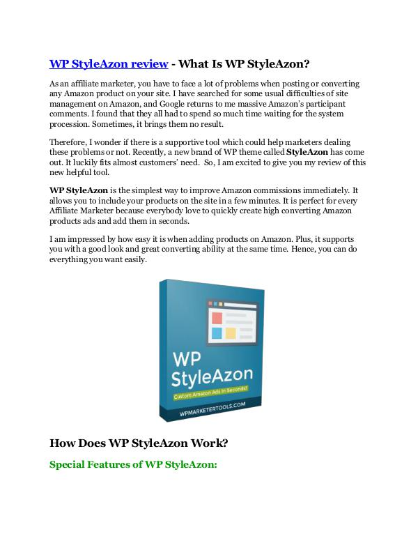 WP StyleAzon review – (Truth) of WP StyleAzon and