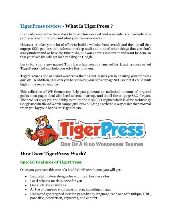 Marketing TigerPress review - TigerPress+100 bonus items