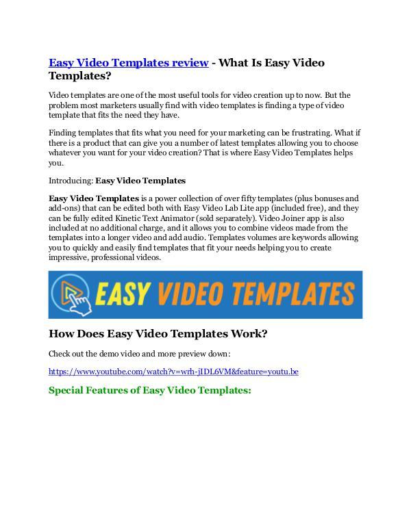 Marketing Easy Video Templates review - $24,700 BONUS & DISC