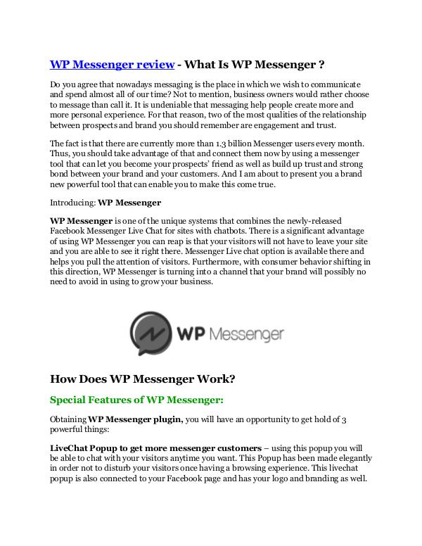 Marketing WP Messenger review