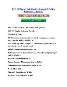 HCS 533 STUDY Extraordinary Success/hcs533study.com
