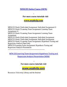 MTH 233 (NEW) help Successful Learning/uophelp.com
