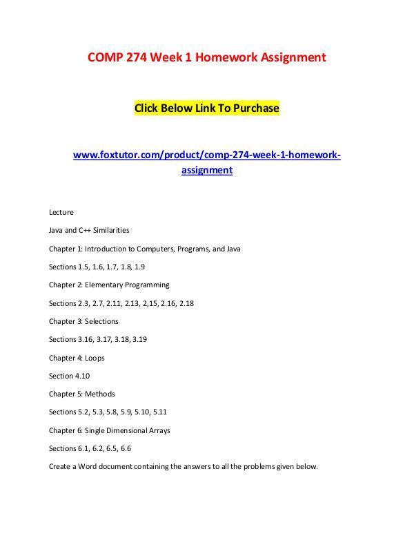 COMP 274 All Assignments COMP 274 All Assignments