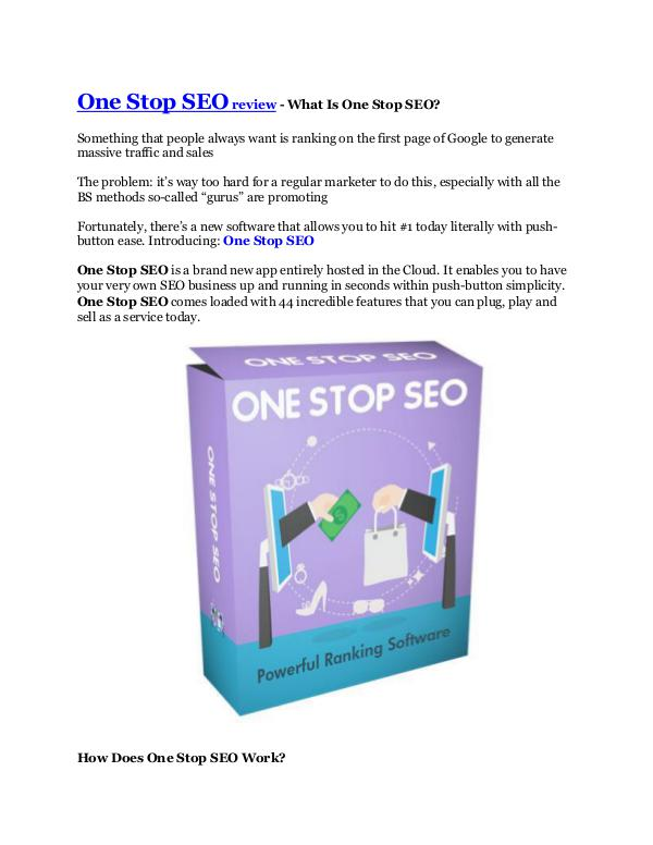 Marketing One Stop SEO review and (Free) GIANT $14,600 BONUS