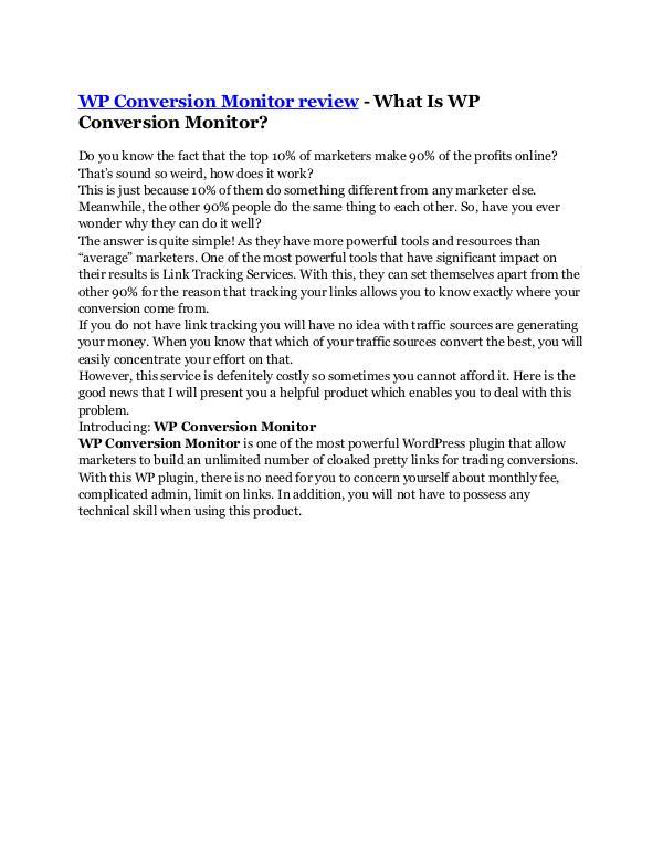 Marketing WP Conversion Monitor review