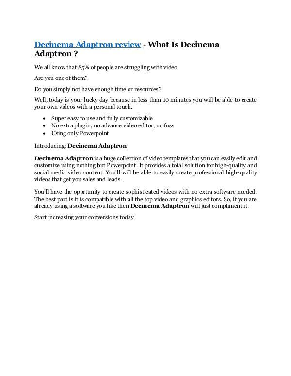 Marketing Decinema Adaptron review
