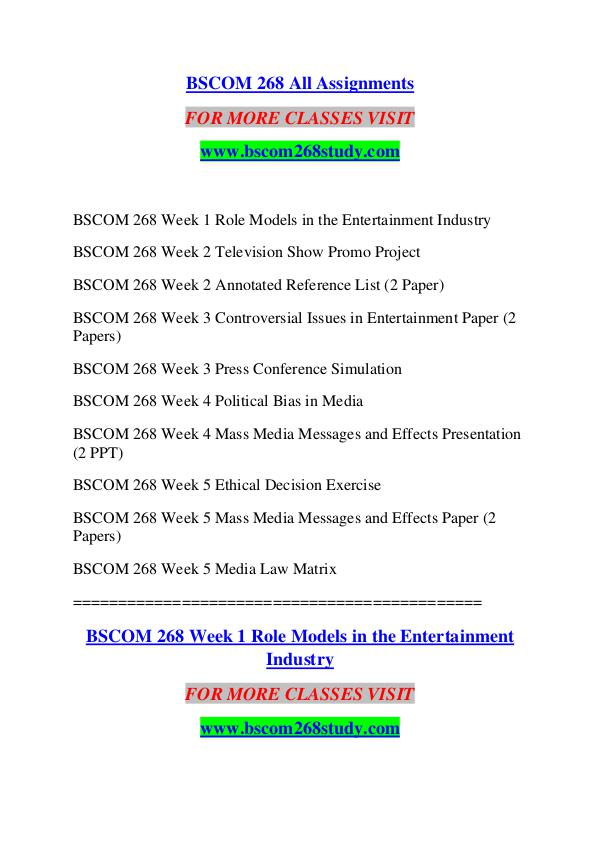BSCOM 268 STUDY Extraordinary Success /bscom268study.com BSCOM 268 STUDY Extraordinary Success /bscom268stu