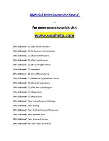 OMM 618(ASH) help Successful Learning/uophelp.com
