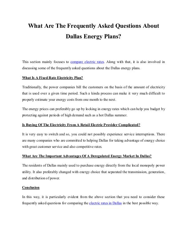 How To Search For Cheap Electric Company Rates In Dallas? What Are The Frequently Asked Questions About Dall