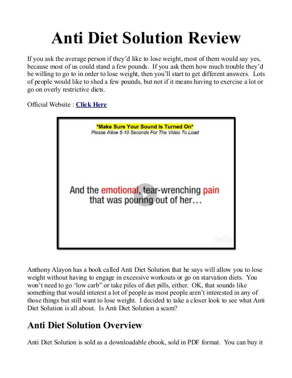 Anti Diet Solution Book / PDF Free Download Anti Diet Solution Reviews