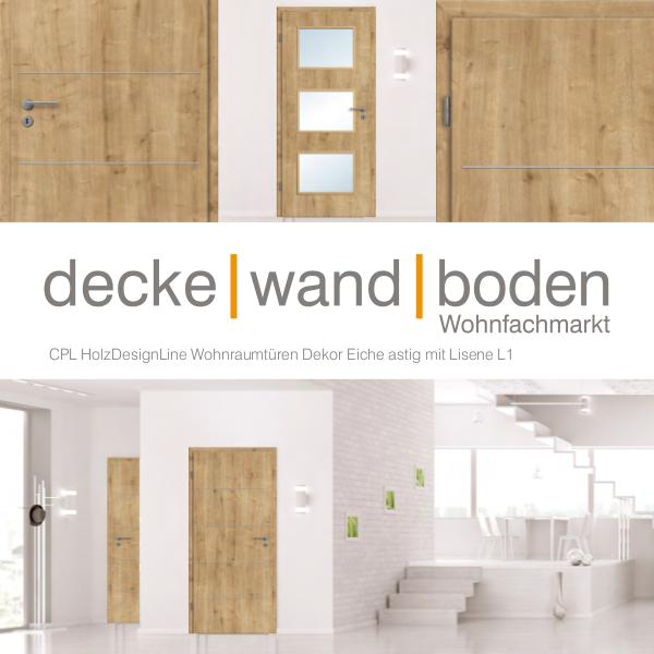 dwb Wohnraumtüren CPL Holz Design Line mit Lisenen L1 Eiche astig dwb Wohnraumtüren CPL Holz Design Line mit Lisene